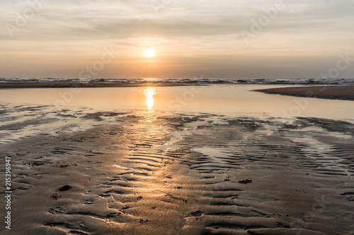 Canvas Noordzee Silver sunset over the North Sea