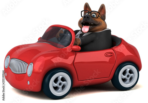 Fotobehang Auto German shepherd dog - 3D Illustration