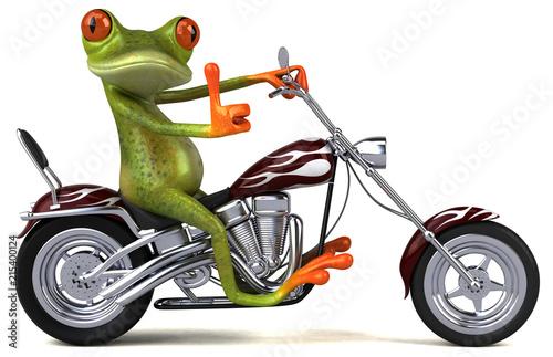 Zabawy żaba na motocyklu - 3D ilustracja