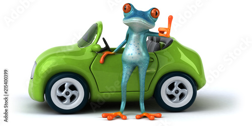 Leinwandbild Motiv Fun frog- 3D Illustration