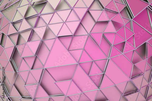 Abstract 3d rendering of geometric surface. Composition with triangles. Futuristic modern background design for poster, cover, branding, banner, placard. - 215402529
