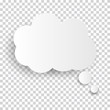 Cloud Icon, white thought bubble on transparent checked background for Infographic design. Vector Illustration