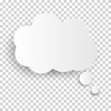 Cloud Icon, white thought bubble on transparent checked background for Infographic design. Vector Illustration - 215413923