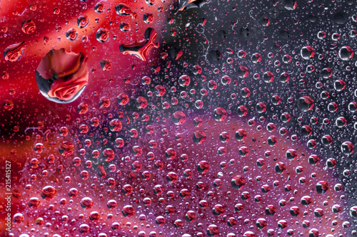 Aluminium Abstractie reflection of a rose in a rain drop