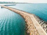 Aerial Drone View Of Concrete Pier On Water At The Black Sea - 215419781