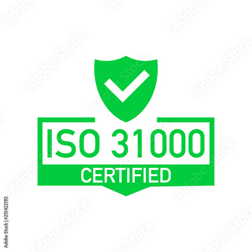 ISO 31000 Certified Badge Icon Certification Stamp Flat Design Vector