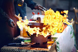 Street Food Festival. Cooking Food On Fire