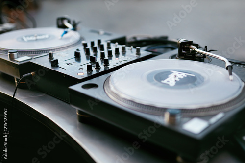 DJ Equipment On Table Closeup