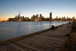 Toronto skyline panorama from East side over lake Ontario, Canada at sunset