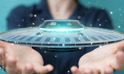 Foto Spatwand UFO Businesswoman with retro UFO spaceship 3D rendering