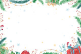 Merry Christmas and Happy New Year 2019 decoration winter set. Watercolor holiday background. Xmas element card. Isolated elements. - 215427780