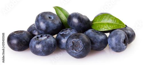 Foto Murales Fresh blueberry on white background