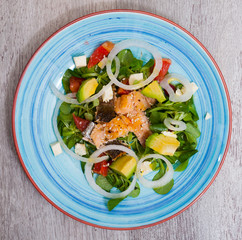 Deliciously salad of  fried  trout with  avocado, grapefruit and corn salad © JackF