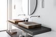 Double sink side view, concrete bathroom