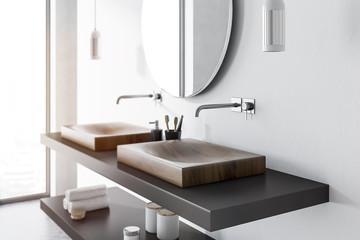 Double sink side view, concrete bathroom © denisismagilov