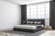 White wall master bedroom interior, siide view