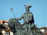 Seagulls resting on equestrian statue of Dom Joao I in Lisbon