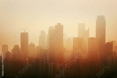 Chongqing urban architecture fog