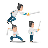 Chinese Hero Young Warrior Character Vector - 215450374