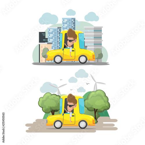 Canvas Auto Man Driver Yellow Car City Vector