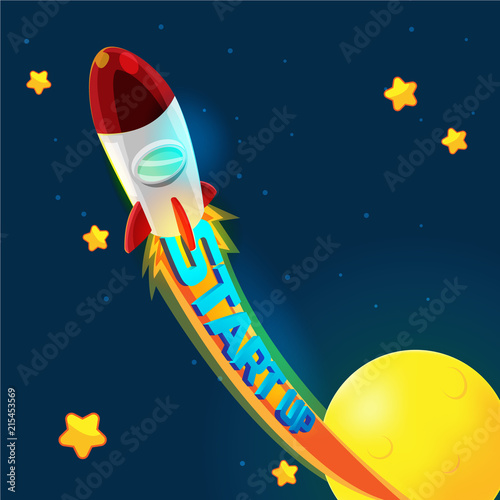 Fototapeta Red Rocket Business Space Fly Vector