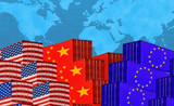 Concept image of  USA-China-EU trade war, Economy conflict, US tariffs on exports to China and EU, Trade frictions - 215454564