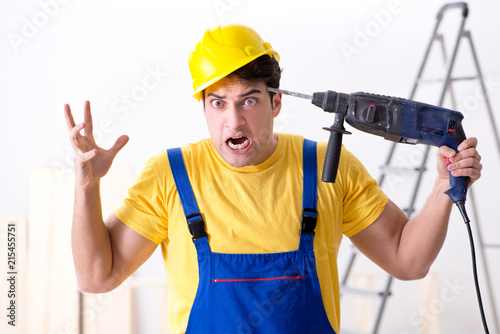 Floor repairman disappointed with his work  - 215455751