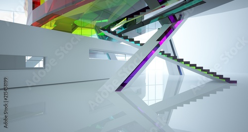 Leinwanddruck Bild Abstract white and colored gradient glasses interior multilevel public space with window. 3D illustration and rendering.