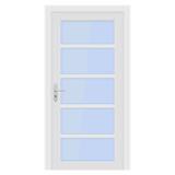 White door. Interior design with glass elements - 215476933