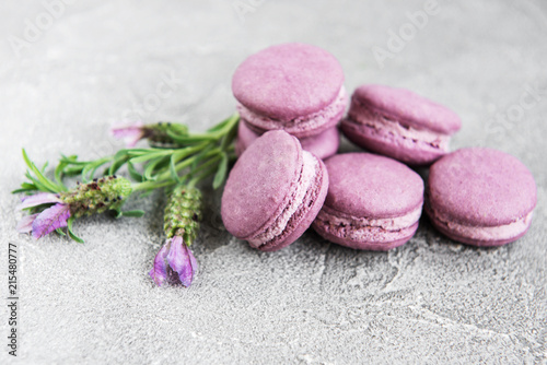 french macarons with lavender flavor - 215480777