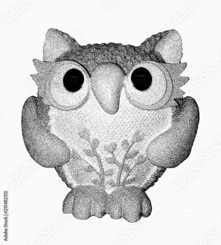 Fotobehang Uilen cartoon Owl with generated computer effect pen-drawings.