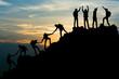 Leinwandbild Motiv Group of people on peak mountain climbing helping team work , travel trekking success business concept