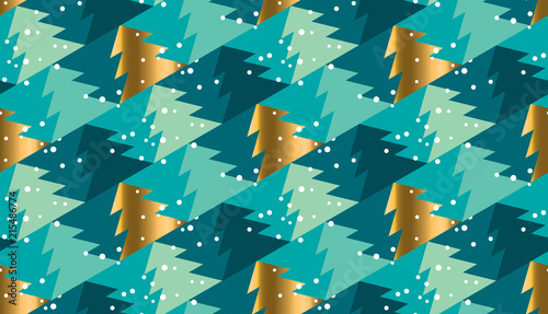 Geometric xmas tree  seamless pattern for background