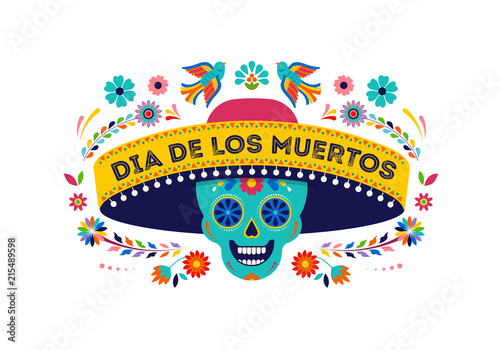 Day of the dead, Dia de los muertos background, banner and greeting card concept with sugar skull. Colorful vector illustration - 215489598