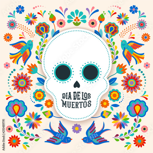 Day of the dead, Dia de los moertos, banner with colorful Mexican flowers. Fiesta, holiday poster, party flyer, greeting card - 215489791