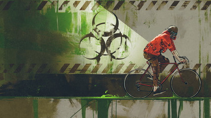 zombie with gas mask riding a bicycle in biohazard zone, digital art style, illustration painting © grandfailure