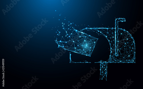 Mailbox with flying mail form lines, triangles and particle style design. Illustration vector