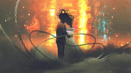 unusual concept of wedding couple kissing on background of abstract light, digital art style, illustration painting © grandfailure