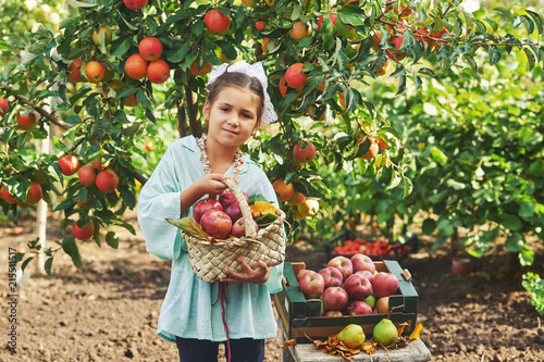Foto Murales Portrait of a girl with apples .Girl holding a basket of fresh apples