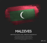 Maldives Flag Made of Glitter Sparkle Brush Paint Vector - 215511794