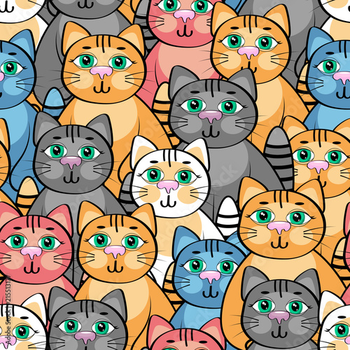 obraz lub plakat Lovely cat, Abstract seamless pattern .Vector illustration.