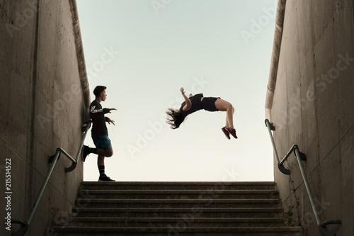 Backflip Girl Boy Parkour