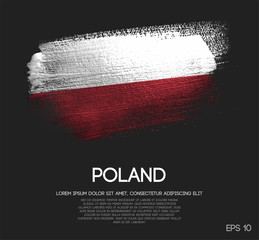Poland Flag Made of Glitter Sparkle Brush Paint Vector