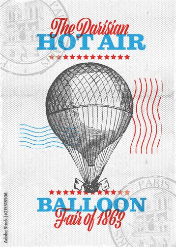In de dag Vintage Poster Vintage Hot Air Balloon Poster