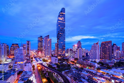Foto Spatwand Thailand Aerial view of city scape in bangkok Thailand at night
