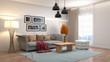 Leinwanddruck Bild - Interior of the living room. 3D illustration