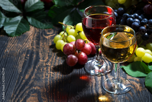 wine glasses on a dark wooden background