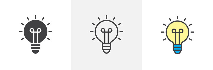 Light bulb icon. Line, solid and filled outline colorful version, outline and filled vector sign. Idea Symbol, logo illustration. Different style icons set. Vector graphics
