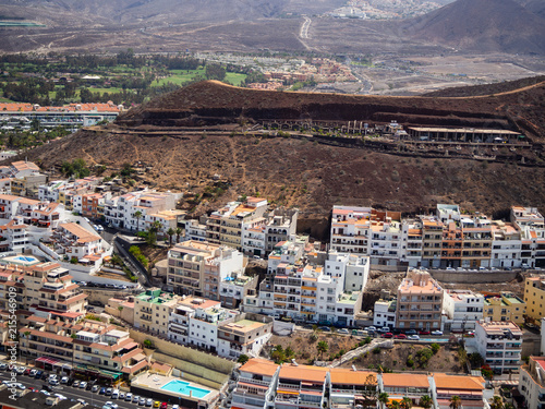 Foto Spatwand Cappuccino Aerial view of the south side of the Tenerife Island, including playa de las americas