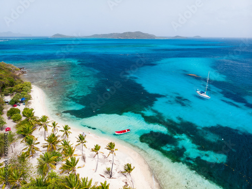 Plexiglas Tropical strand Top view of Tobago cays